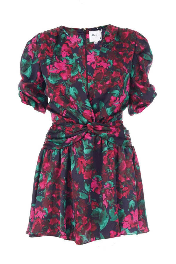 Narcissa Enchanted Floral Puff-Sleeve Mini Dress