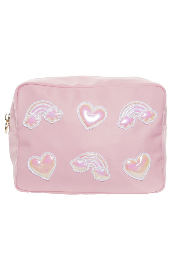 Stoney Clover Lane - Flamingo Large Pouch With Puffy Iridescent Patches