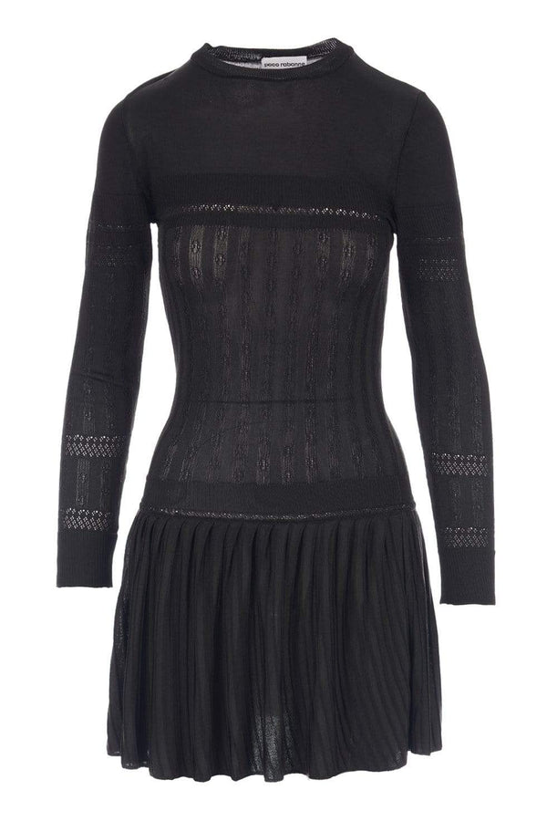 Paco Rabanne Black Mixed-Knit Long Sleeve Mini Dress