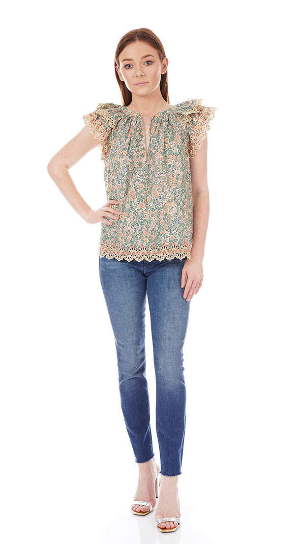 Ulla Johnson - Elm Ruffled Printed Cotton Top