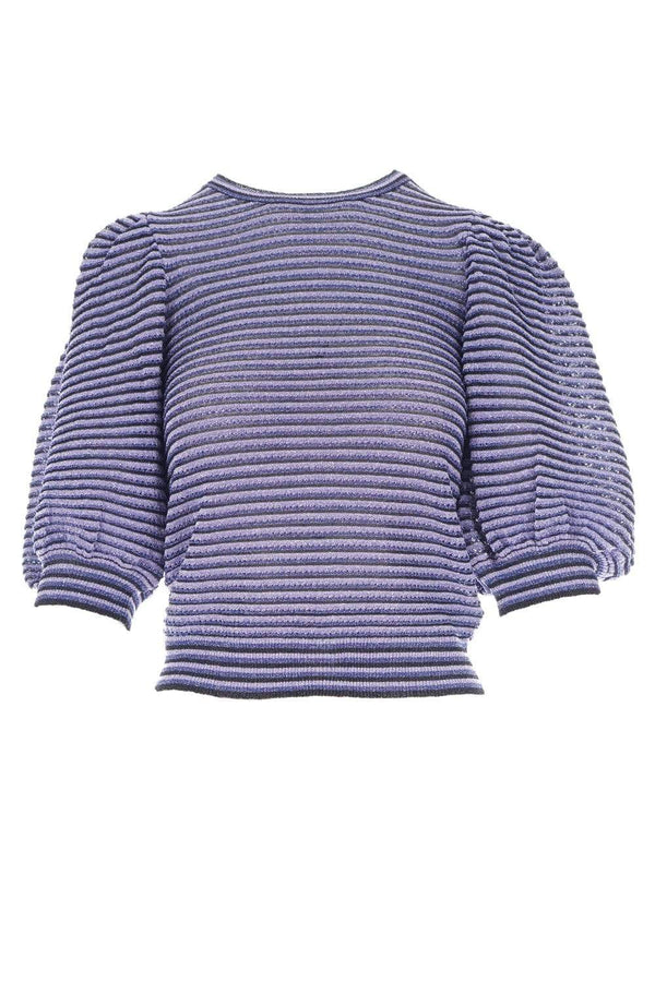 RED VALENTINO - Blue Lurex Striped Puff-Sleeve Blouse
