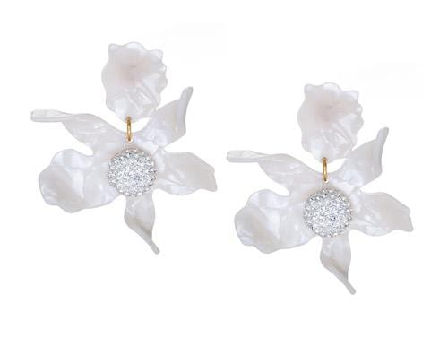 Crystal Lily Mother Of Pearl Pierced Earrings