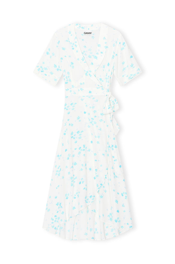 Printed Crepe Midi Wrap Dress