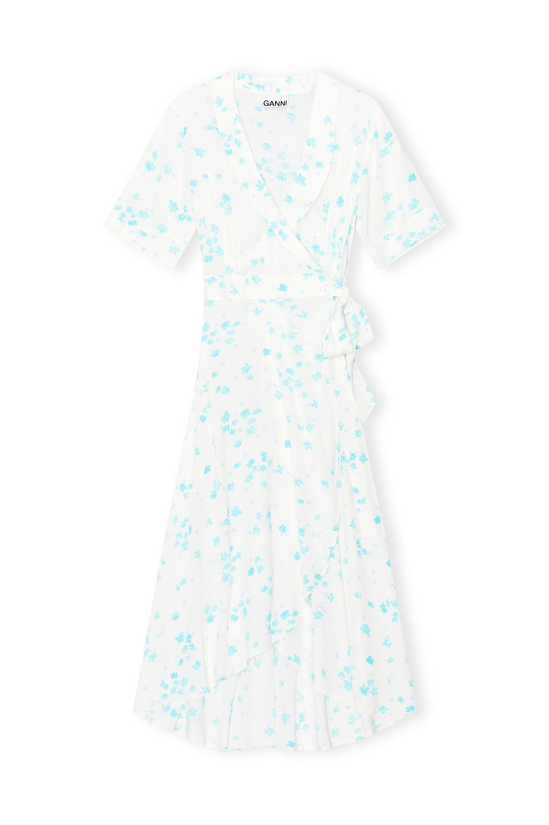 GANNI Printed Crepe Midi Wrap Dress