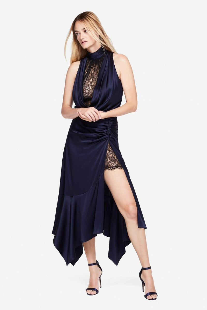 Silk Lace Slit Dress