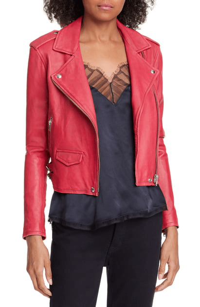 IRO - Asheville Leather Jacket in Fuschia