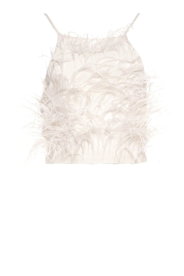 Cult Gaia Joey Dove Feathered Crop Top