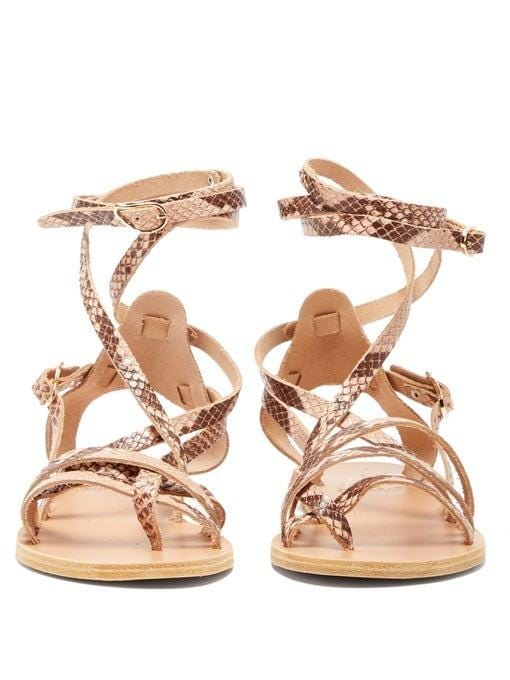 Ancient Greek Sandals Satira Python Ankle Wrap Sandals