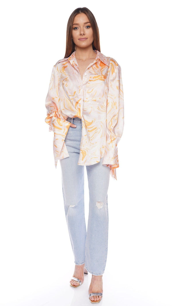 Coleman Printed Satin Long Sleeve Blouse