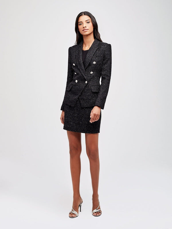 Kenzie Double Breasted Tweed Metallic Blazer