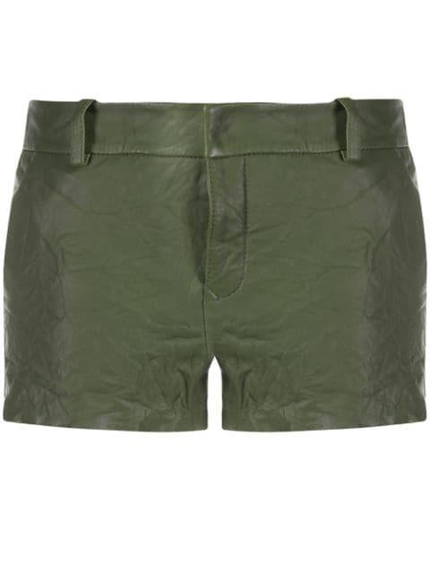 Zadig & Voltaire Simio Crinkled Leather Shorts
