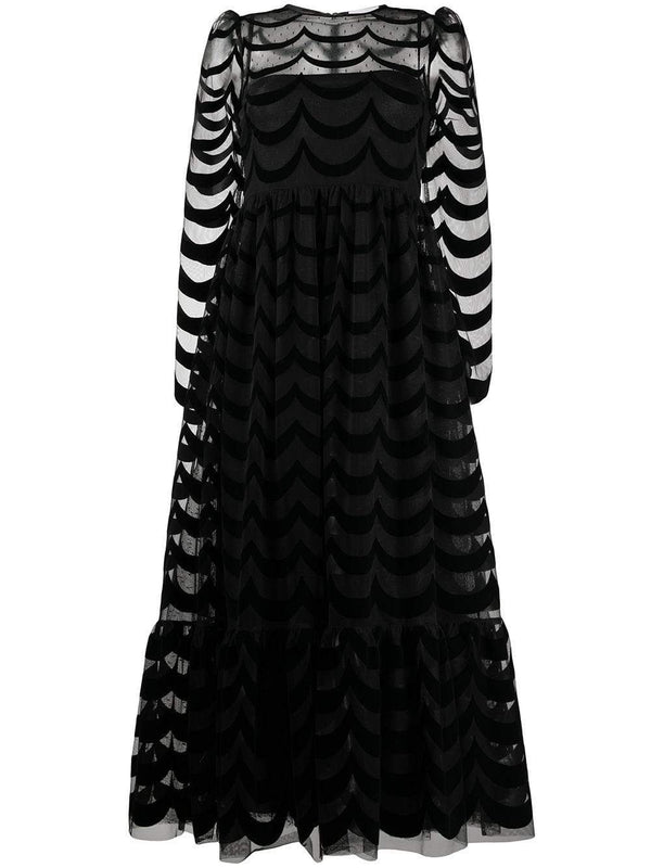 RED VALENTINO - Black Point D'Esprit And Lace Long Sleeve Midi Dress