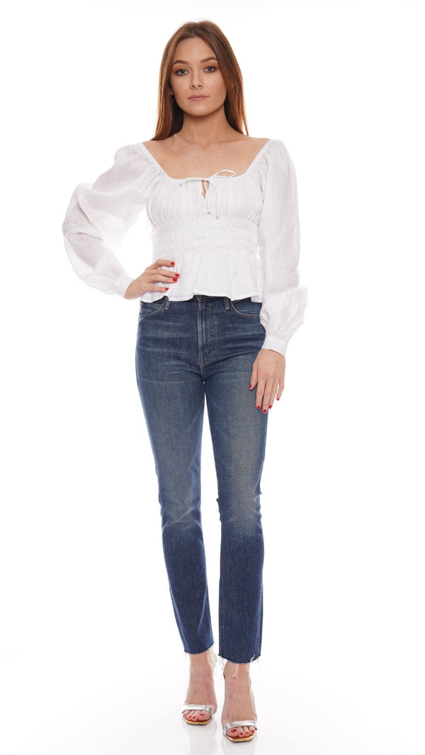 Faithfull The Brand - Bellano White Long Sleeve Peasant Top