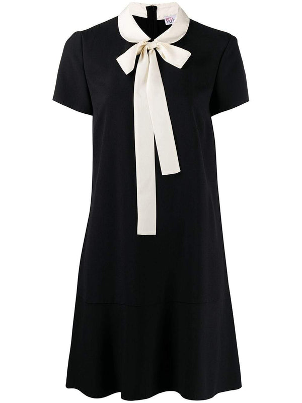 Frisottino Black Mini Dress With Ivory Collar