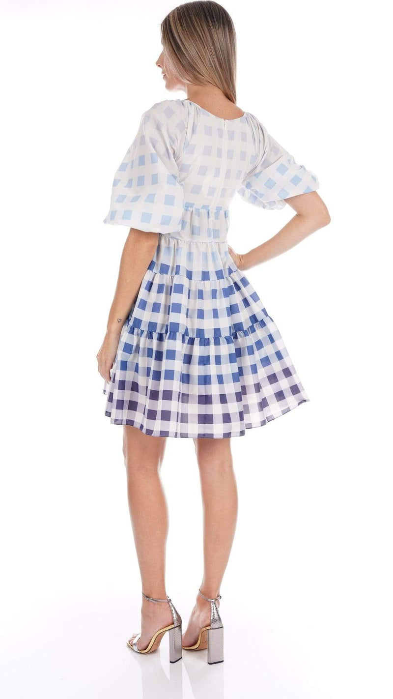 Staud Mini Meadow Dress Blue Ombre Gingham
