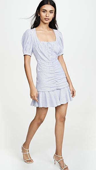 Jonathan Simkhai - Striped Ruched Front Mini Dress