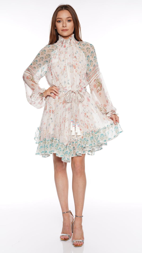 Hemant and Nandita - Brio Floral Chiffon Mini Dress