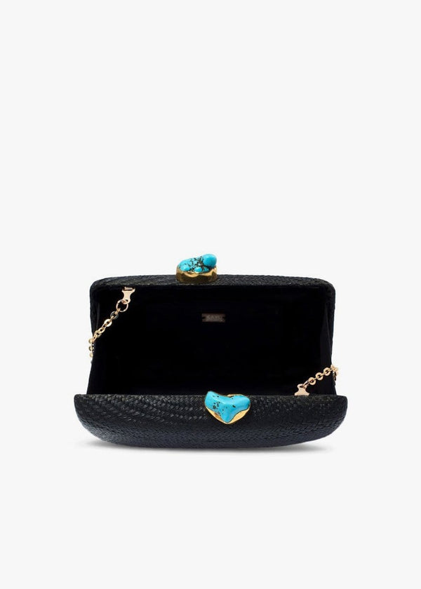 KAYU - Jen Black Straw Clutch with Turquoise Stones