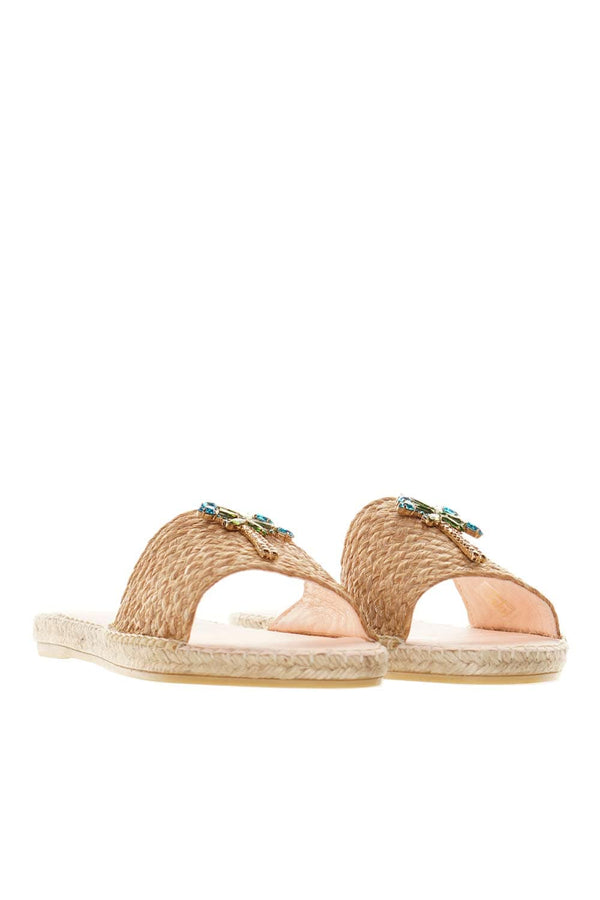 Capri Natural Raffia & Palm Slide Sandals