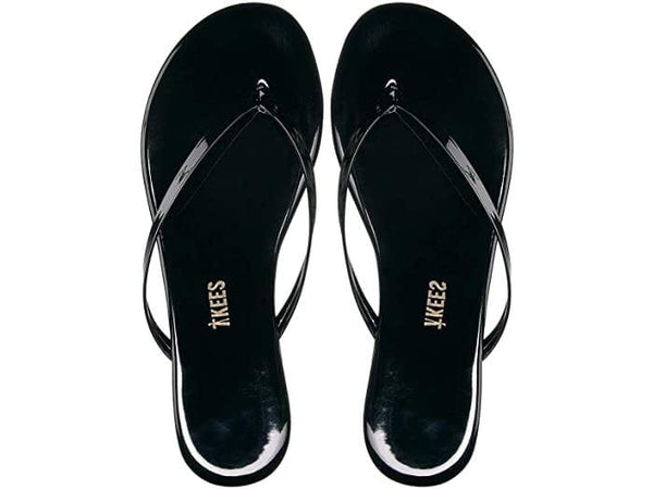 TKEES - Glossy Black Thong Sandal
