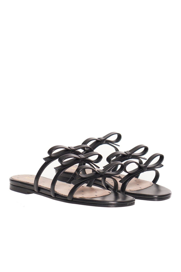 RED VALENTINO Black Bow Flat Leather Sandals