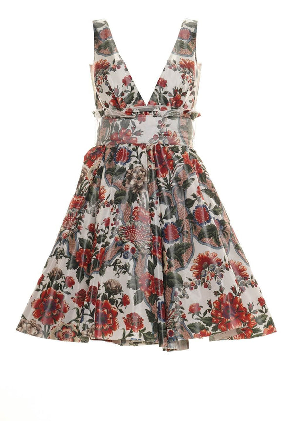 Quesyn Bow-Detailed Floral Mini Dress