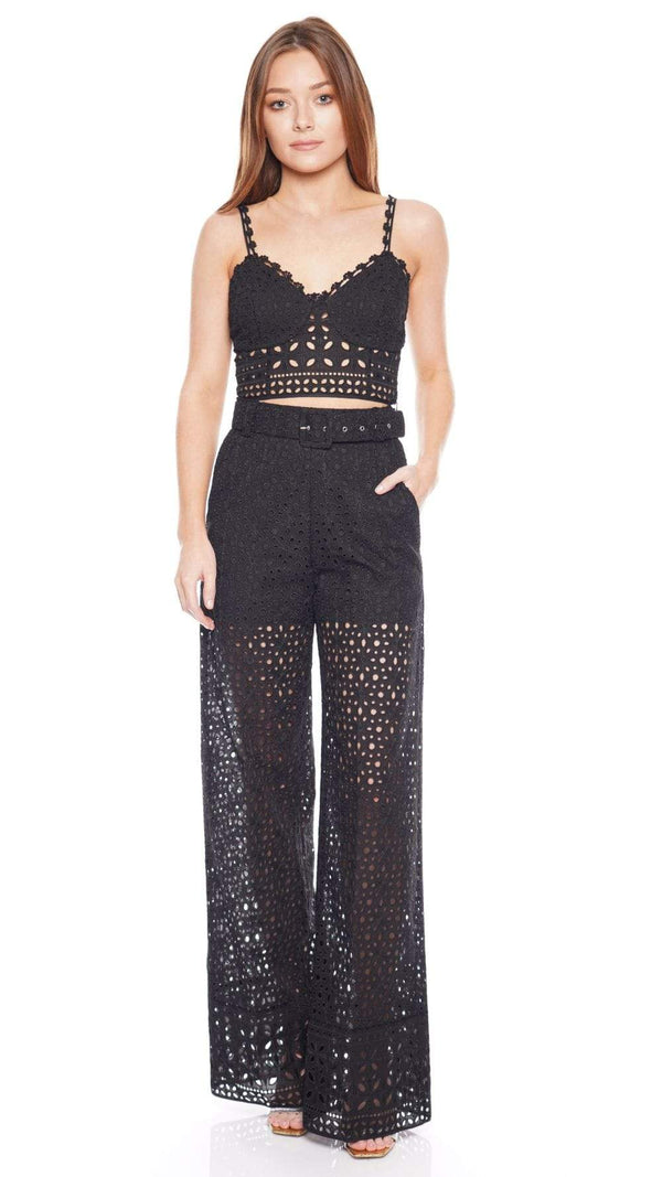 CHARO RUIZ IBIZA - Annie Black Embroidered Cotton Bralet Top