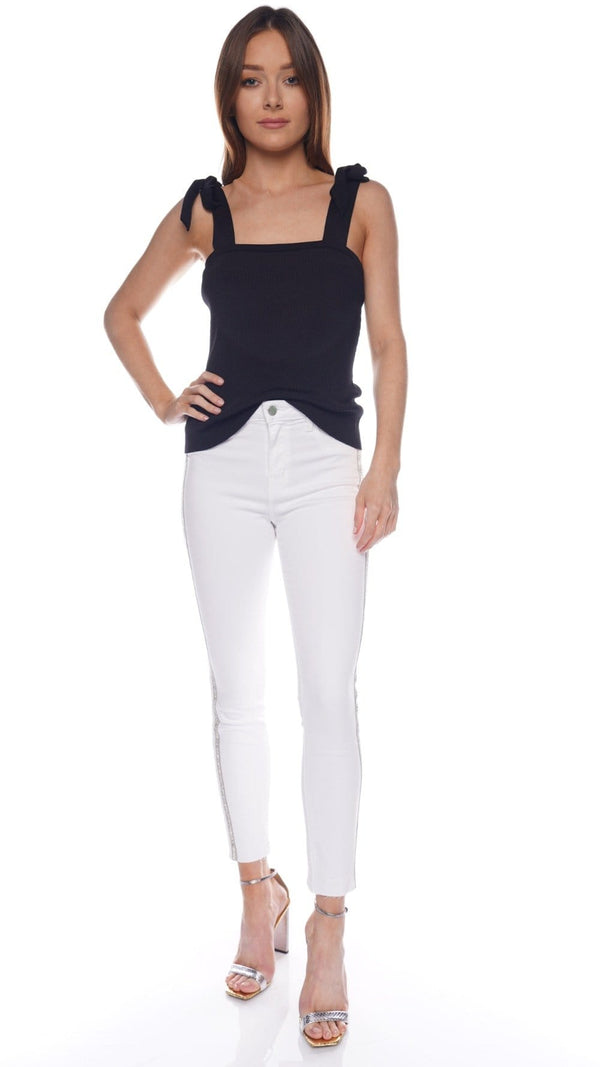 Margot White High-Rise Crystal Striped Skinny Jeans