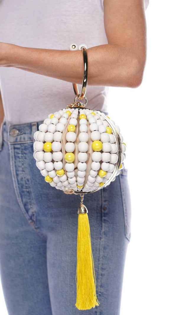ROSANTICA Billie Yellow Pazza Wooden Beaded Bag