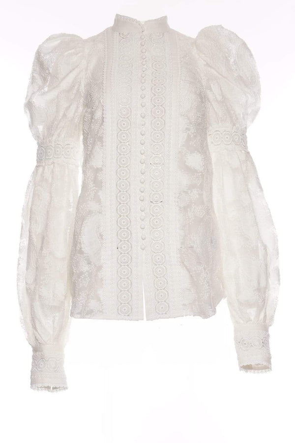Suffield Lace Trim Long Sleeve Blouse