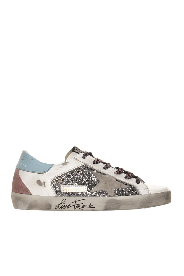 Glitter and Suede Star Live Free Super-Star Sneakers