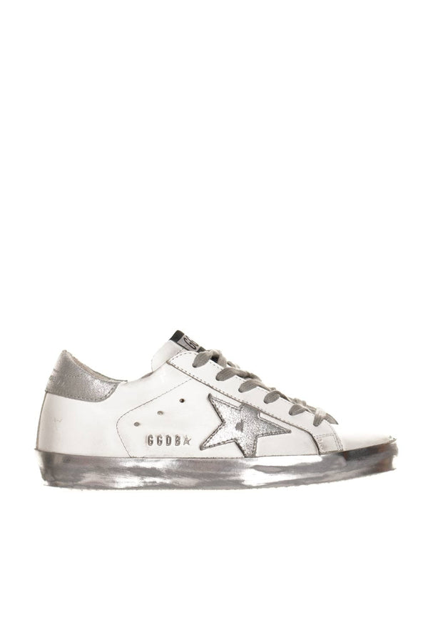 Golden Goose White and Silver Super-Star Sneakers