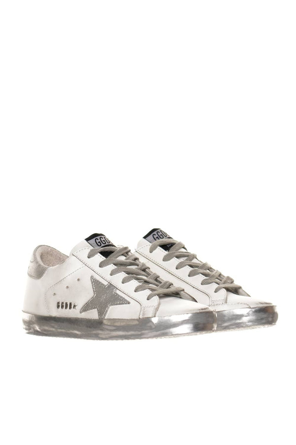 White and Silver Super-Star Sneakers