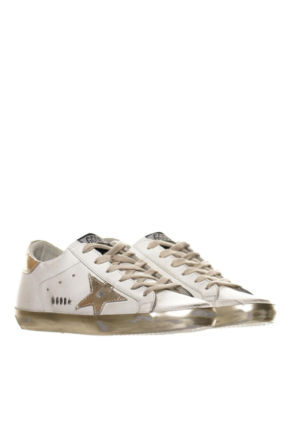 White and Gold Super-Star Sneakers