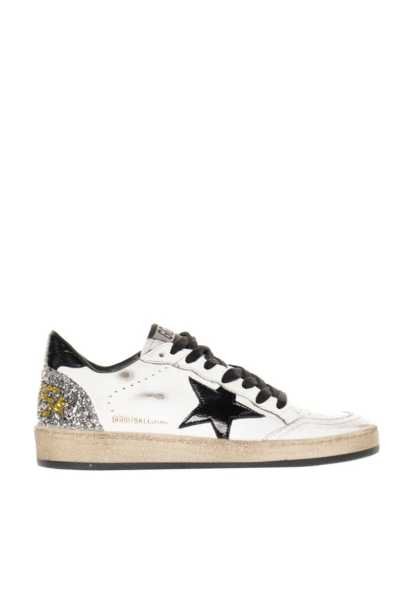 Golden Goose Ball Star Cracked Leather Glitter Heel Sneakers