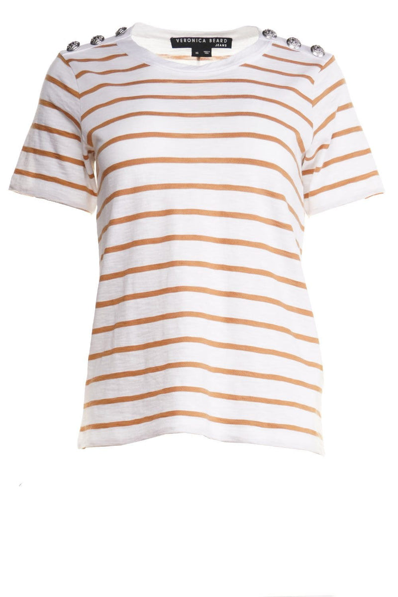 Veronica Beard Carla Striped Crew-Neck Tee