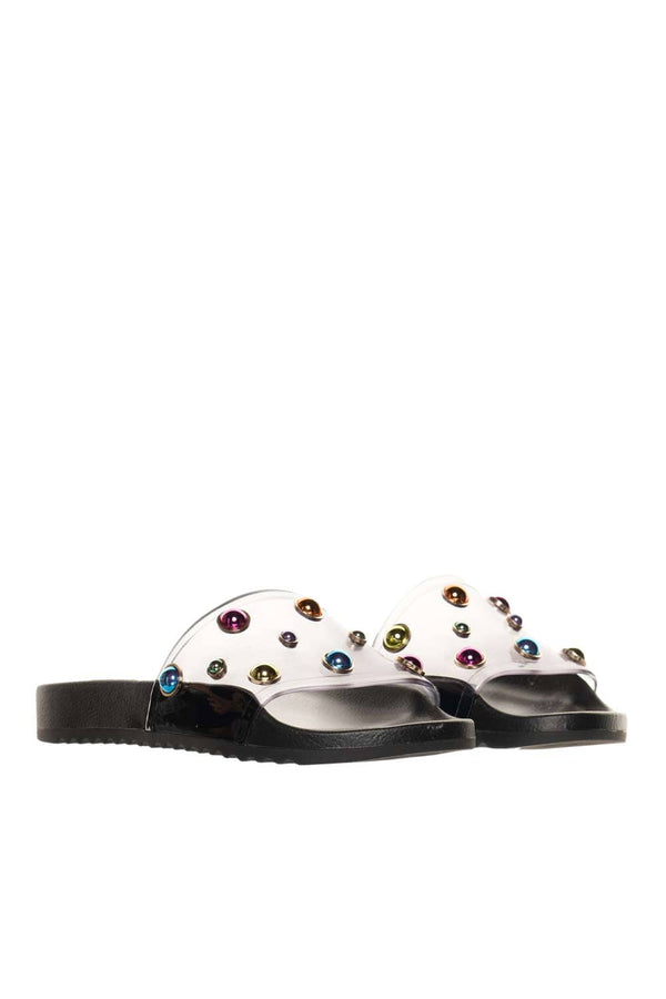 Sophia Webster Dina Black Multi Embellished PVC Slides