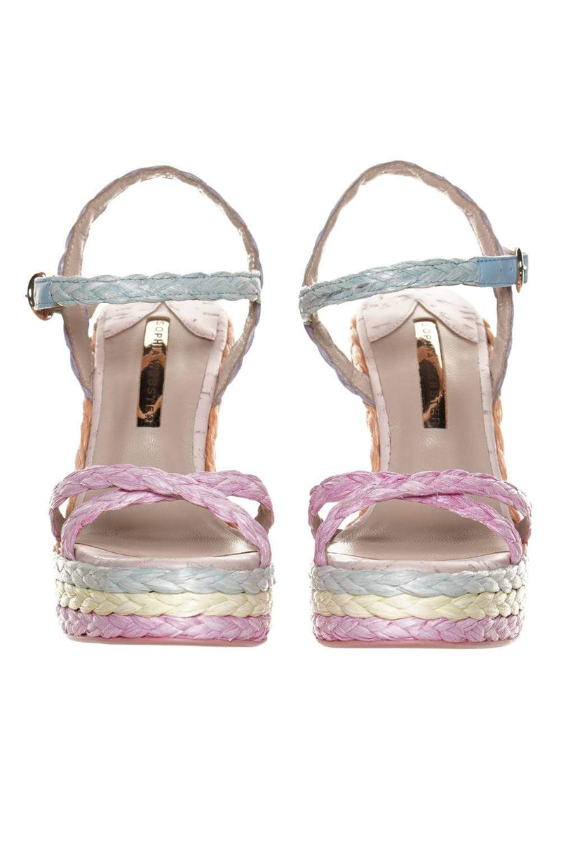 Sophia Webster Ines Multi Pastel Espadrille Platform Wedge Sandals