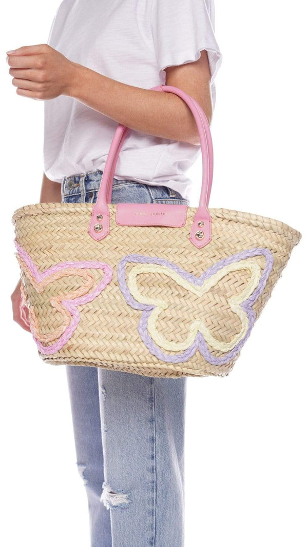 Sophia Webster Taya Pink Mixed Pastel Butterfly Raffia Tote