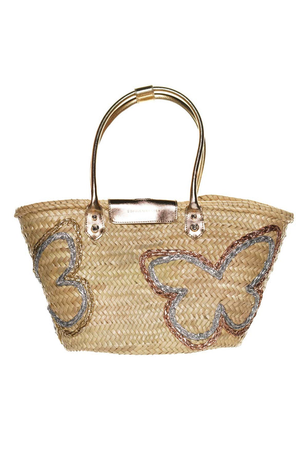 Sophia Webster Taya Gold Mixed Butterfly Raffia Tote