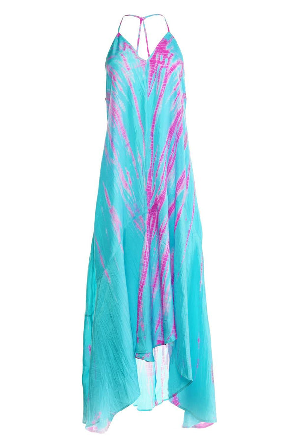Silk T-Strap Tie-Dye Maxi Dress