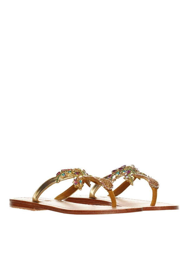 MYSTIQUE Aden Crystal Palm Tree Thong Sandal
