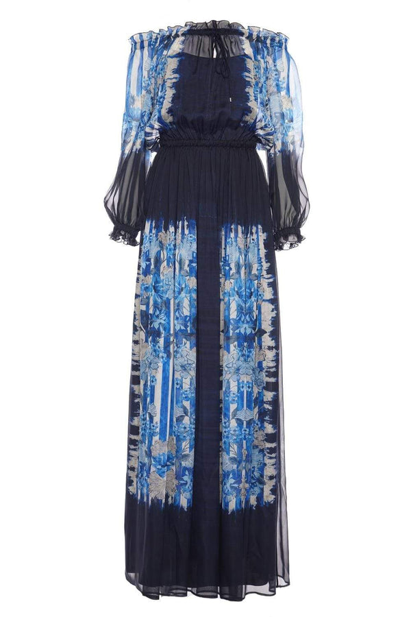 Stripes And Flowers Printed Chiffon Maxi Dress