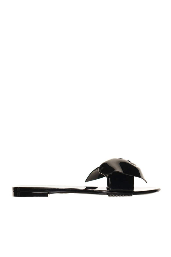 Black PVC Bow Embellished Slide Sandals