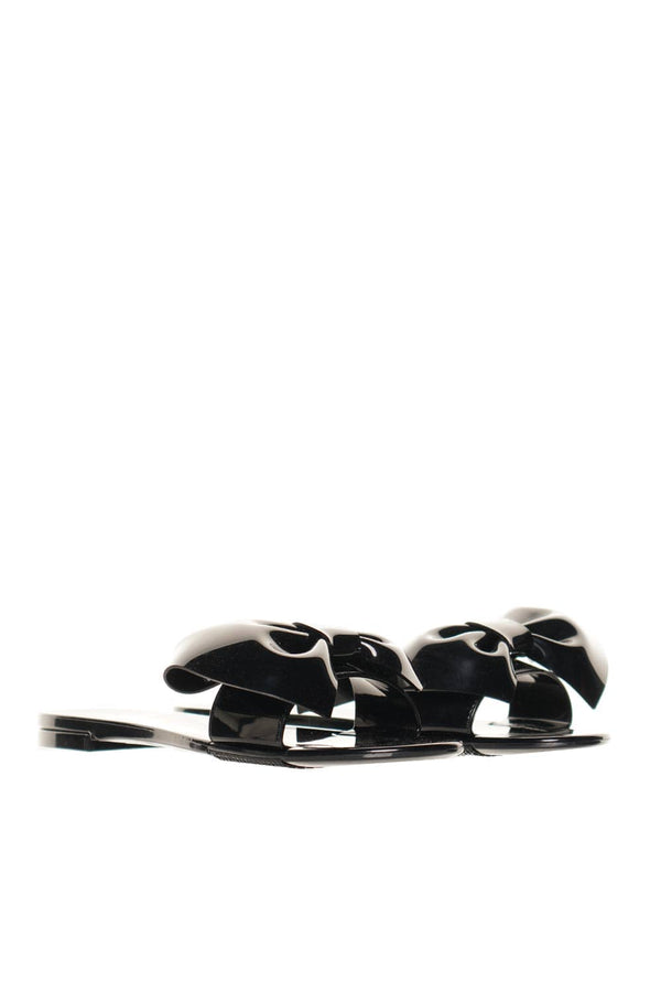 RED VALENTINO Black PVC Bow Embellished Slide Sandals