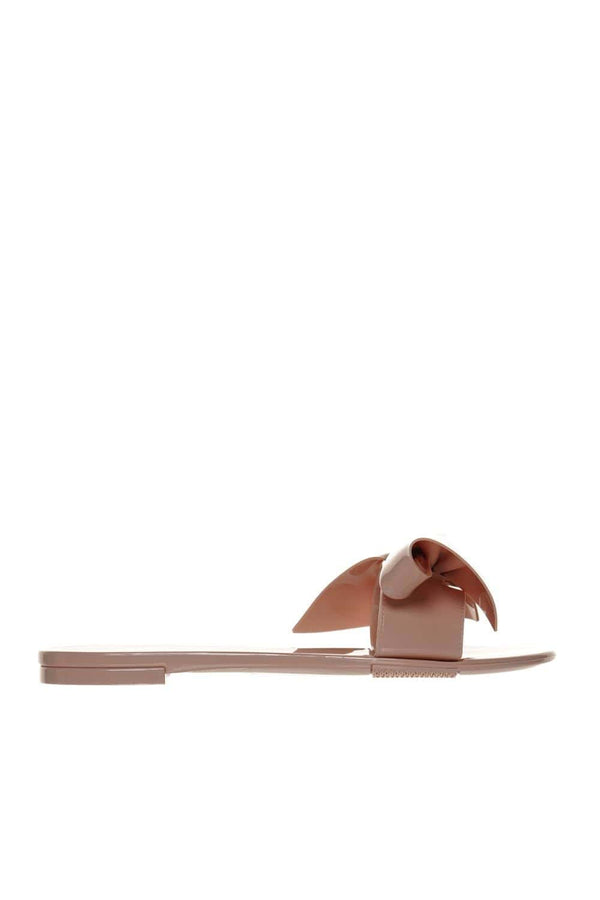 Nude PVC Bow Embellished Slide Sandals