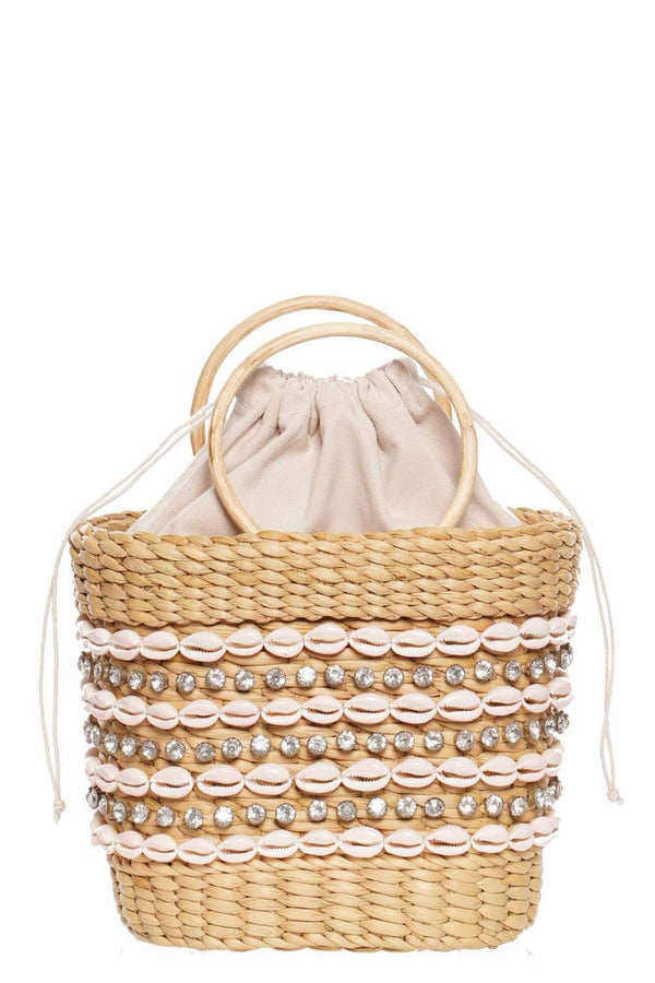 The Mak Mini Beach Tote With Shell and Crystal Embellishment