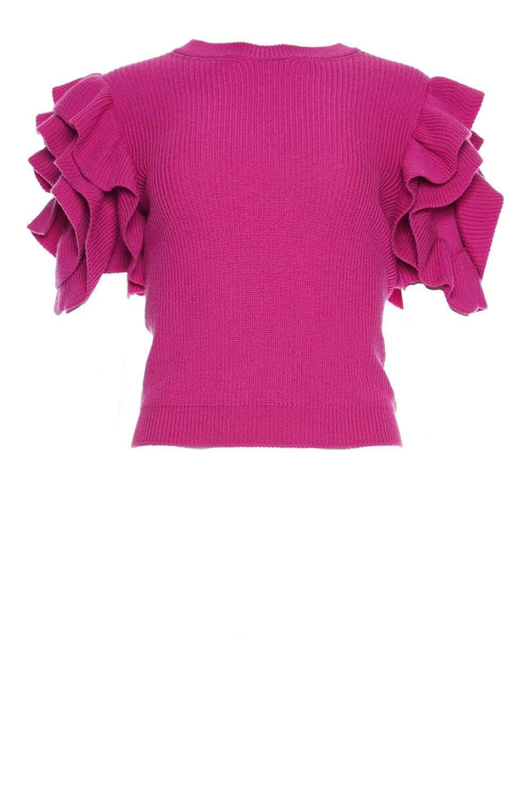Pink Ribbed Knit Sweater With Ruffled Short Sleeves