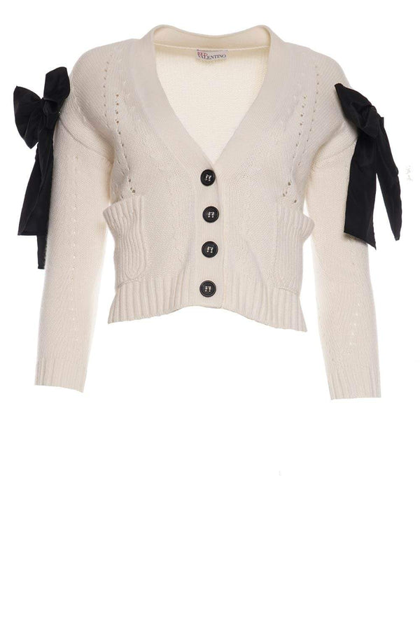 Ivory Wool Blend Cardigan With Bow Detail