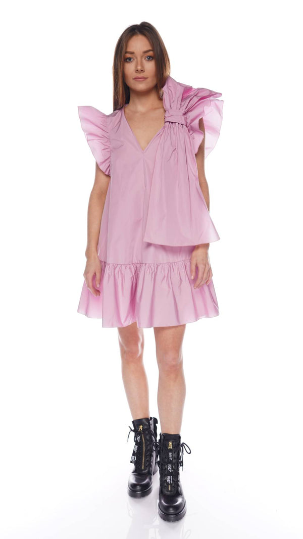 Rose Bow Detail Taffeta Mini Dress
